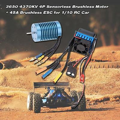 3650 4370KV 4P Sensorless Brushless Motor+45A ESC for 1/10 Car High Quality UK