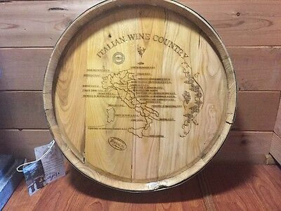 NEW VINTAGE WOOD Wine Barrel Top Italian Wine Country Map Decor Made ...