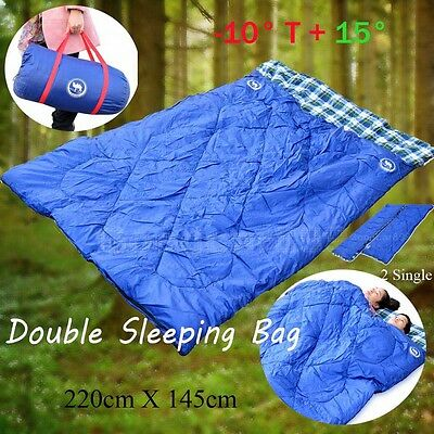 Double Outdoor Camping Sleeping Bag Hiking Thermal Winter -10°C- +15° 220x145cm