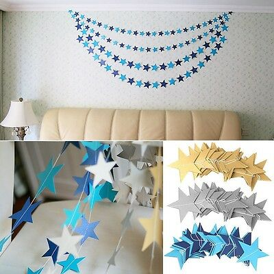 Shower Home Garlands Bunting Party Decoration Paper Star Hanging Banner