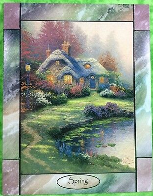 Thomas Kinkade Time for All Seasons Stained Glass Wall Clock Tile SPRING Cottage