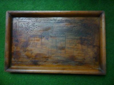 Antique unique carved wood tray, Romanian traditional wood art