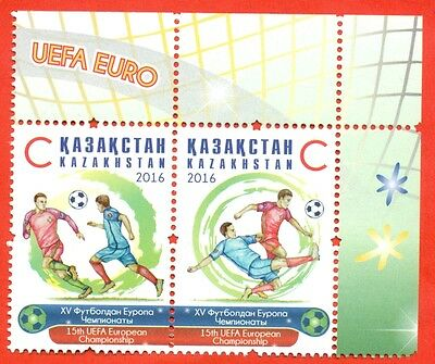 Kazakhstan 2016. Coupling of the two stamps. Football. UEFA. NEW!