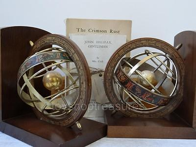 Made in Italy Vintage Brass & Wood Armillary Globe Book Ends Celestial Decor
