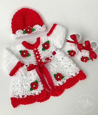 Stunning hand made Hand Knitted, Crocheted baby girl cardigan/dress 0- 3 months