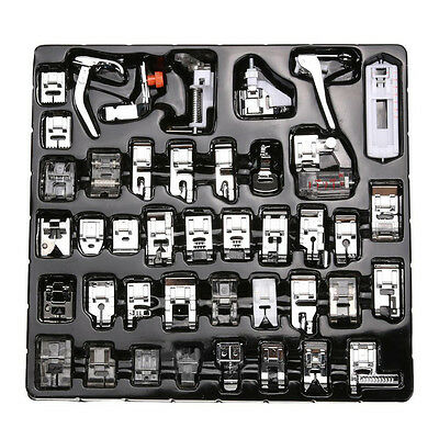 42PCS Domestic Sewing Machine Presser Foot Feet Snap On For Brother Singer Set