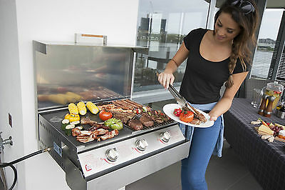 Space Grill 3 Burner Fold Away Wall Mounted Barbecue BBQ