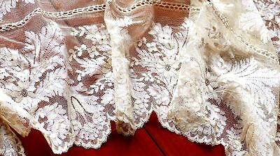 """GOLDEN CREAM ANTIQUE EMBROIDERED SILK TULLE LACE SHAWL / RUNNER 94x13"""""""