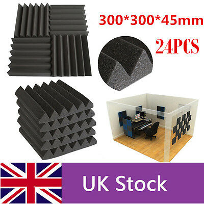 24PCS Acoustic Foam Wedge Tiles Studio Sound Proofing Room Treatment Absorption