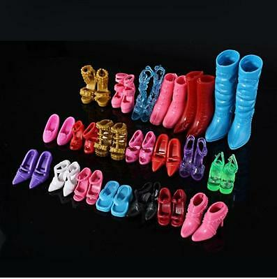 24pcs 12Pairs Shoes Boots Decor Barbie Doll Toy Girls Accessories Play House