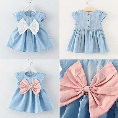 Princess Baby Kids Girl Bowknot Denim Dress Wedding Party Pageant Dress Sundress