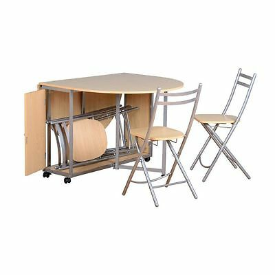 Butterfly Compact Dining Set Beech & Silver Table & 4 Chairs - Space Saving