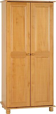 Sol Antique Pine Solid Wood 2 Door Wardrobe Cupboard Bedroom Hom Furniture