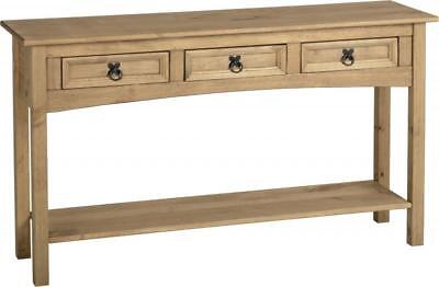 Corona 3 Drawer Console Table With Shelf Distressed Waxed Pine