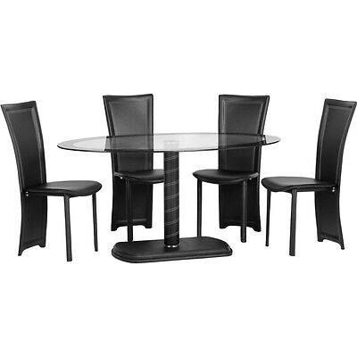 Cameo Oval Dining Set Clear Glass/Black Border/Black Pvc