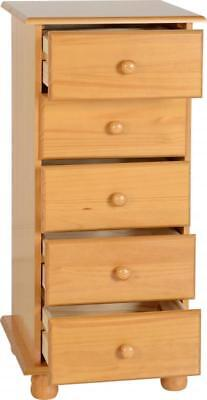 Sol 5 Drawer Narrow Chest Antique Pine
