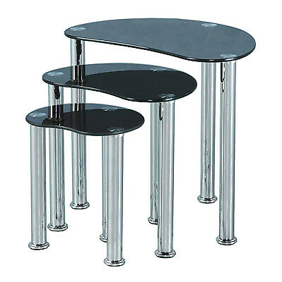 Cara Nest Of Tables Black Glass/Silver, Clear Glass/Silver