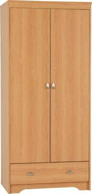 Regent 2 Door 1 Drawer Wardrobe Teak Effect Veneer Storage Bedroom Furniture