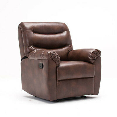 Regency Recliner Sofa Chair in Bronze Brown Faux Leather Armchair Recline Bed