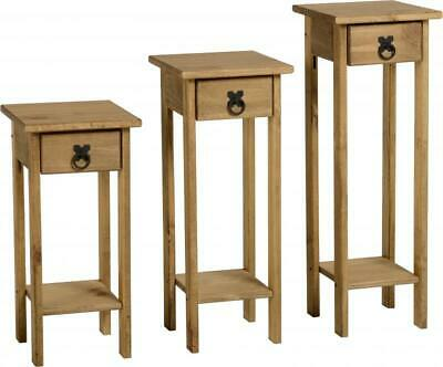Corona Plant Stands (Set Of 3) Distressed Waxed Pine