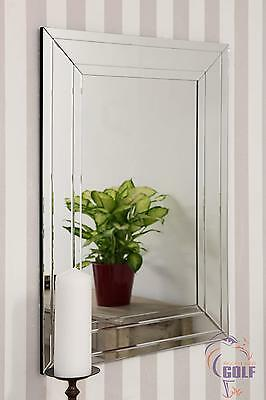 Modern All Glass Large Bevelled Wall Mirror 2ft3 x 3ft3 (70cm x 100cm).