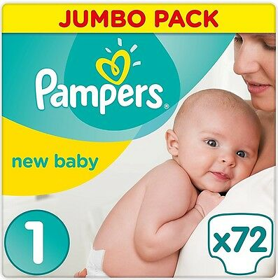 Pampers Premium Protection Nappies New Baby Jumbo Pack - Size 1, Pack 72 *NEW*