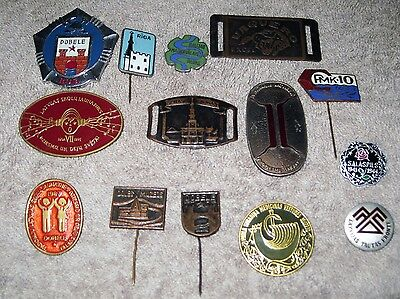 Vintage USSR Latvian Collectibles Buttons Pins Badges