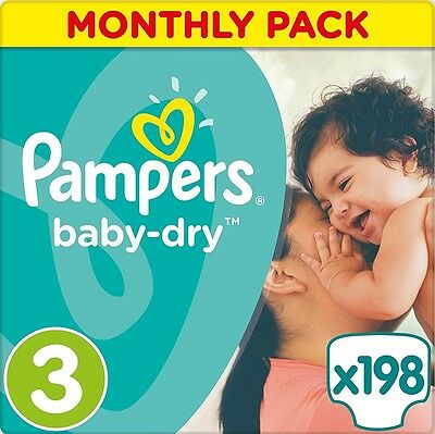 Pampers Baby-Dry Nappies Monthly Saving Pack - Size 3, Pack 198 *BRAND NEW*