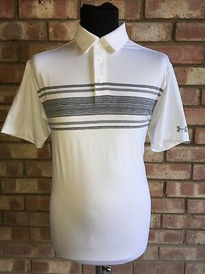 Under Armour Golf Playoff Polo Heat Gear White Stripe Large Clearance 1253479