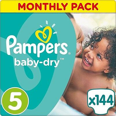 Pampers Baby-Dry Nappies Monthly Saving Pack - Size 5, Pack 144 *BRAND NEW*