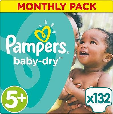 Pampers Baby-Dry Nappies Monthly Saving Pack - Size 5+, Pack 132 *BRAND NEW*