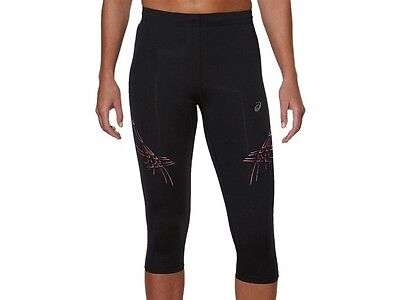 Asics Tiger Stripe Womens Ladies 3/4 Capri Running Fitness Gym Tights Leggings