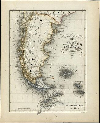 South America Patagonia Orkney South Shetland c.1850 Meyer detailed antique map
