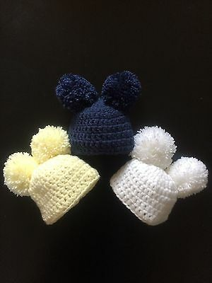 Hand Crochet Baby Bobble Hat Pom Pom 0-3 Months White Lemon Navy Blue Boy Girl