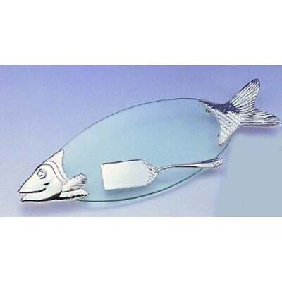 New Leeber Glass And Silver Fish Tray With Server