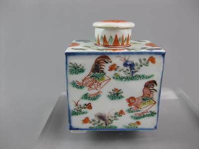 Superb Rare Kangxi c1700 Famille Verte Tea Caddy Cockerels Roosters