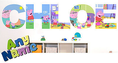 PEPPA PIG letter name wall stickers (3 sizes available & PRE-CUT)