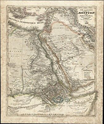Egypt north Africa Arabia in detail c.1850 Meyer scarce detailed antique map