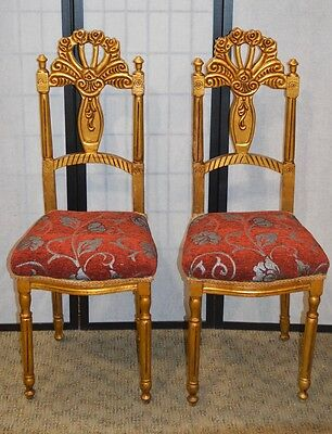 Pair of Vintage Ornate French Style Gold Finished Accent Chairs