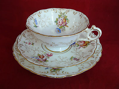 Coalport Antique China Floral Gilded Cup Saucer & Plate Cabinet Trio Y2708