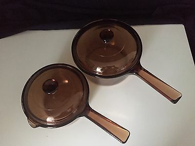 Corning Visions Amber 1.5 Litre & 1 Litre Sauce Pans Set Of 2 Made In U.S.A.