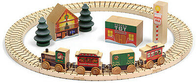 "North Pole Village 17 Piece Wooden 17"" Circle 4 Car Santa Train Set-   MLM 11232"