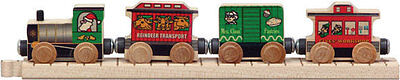 """Wooden Santa Train Set-Four Cars-Magnetic Couplers-12"""" Straight Track  MLM 10045"""