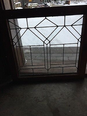 Sg 1084 Antique Geometric Leaded Glass Window 24 High By 26 1/2 Wide