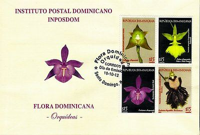 Dominican Orchids National Flora Block of 4 Sc 1530 FDC 2012