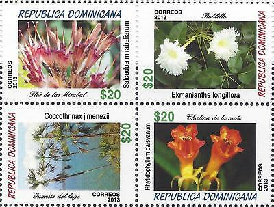 DOMINICAN FLOWERS Sc 1559 BLOCK of 4 MNH 2014