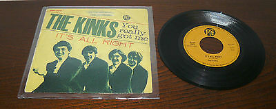 """The  Kinks 7""""  I° 45 Giri  You Really Got Me  Ps Italy 1964 Pye - It's All Right"""