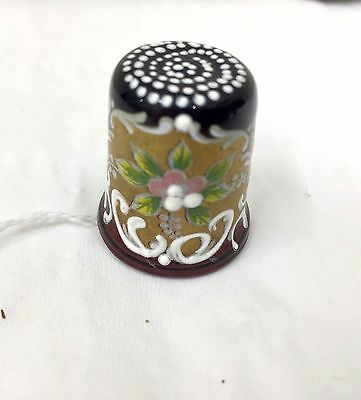 Vintage Enamelled Glass Thimble ref 2303