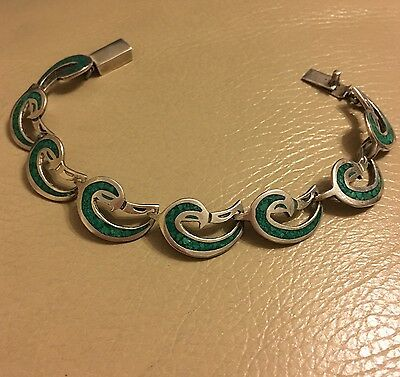 Vintage retro Mexican 925 silver green mosaic malachite chip link bracelet 8in