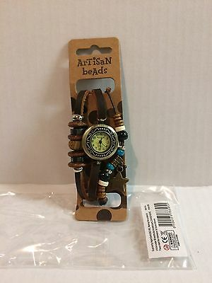 Ladies artisan beads charmed brown leather watch Brand New